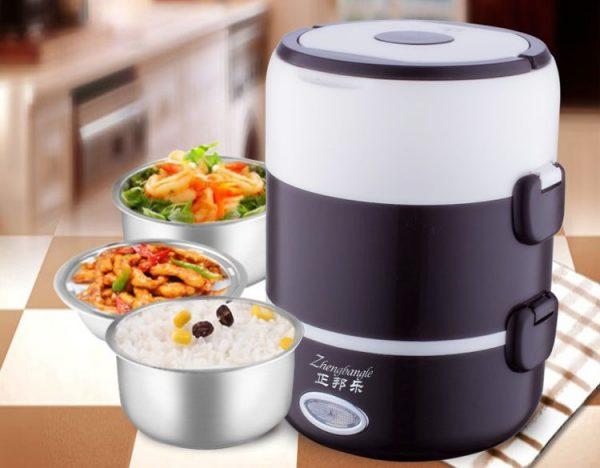 Hộp cơm cắm điện inox 3 ngăn nóng siêu nhanh